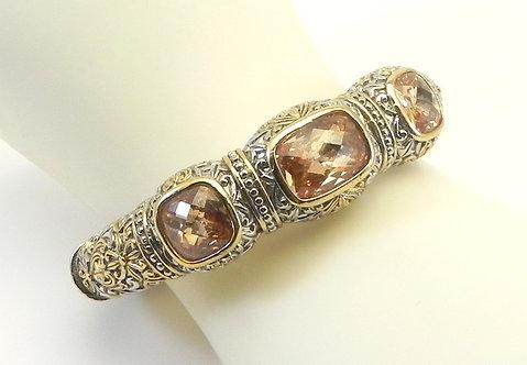 Statement Designer Inspired 2-Tone Rectangle & Square Topaz CZ  Bracelet