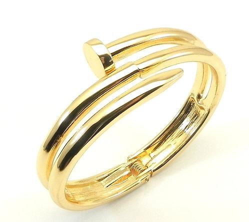 Designer Inspired Statement Bold Gold-Tone Hinged Bracelet