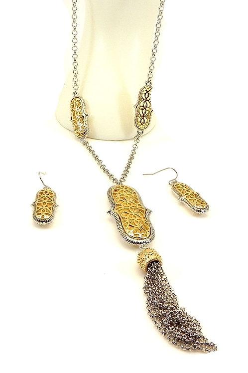 International Designer Inspired 2-Tone Filigree Tassel Necklace & Earring Set