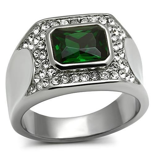 Stainless Steel Men's Ring simulated Emerald CZ & Pave Set Crystals 8-13