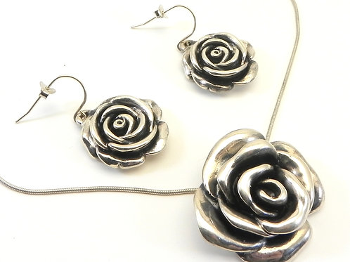 Sterling Silver 925 Sculpted Rose Pendant and Earring Set