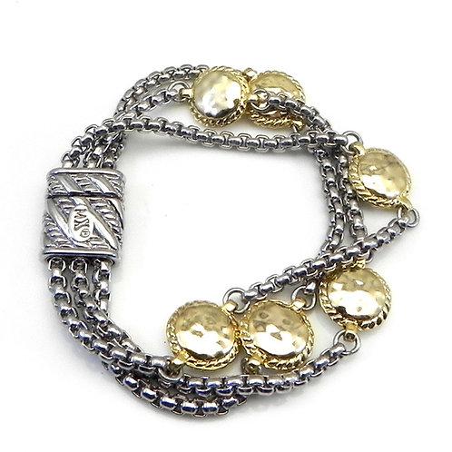 Bali Designer Inspired 2-Tone Multi Strand & Hammered Sections Bracelet