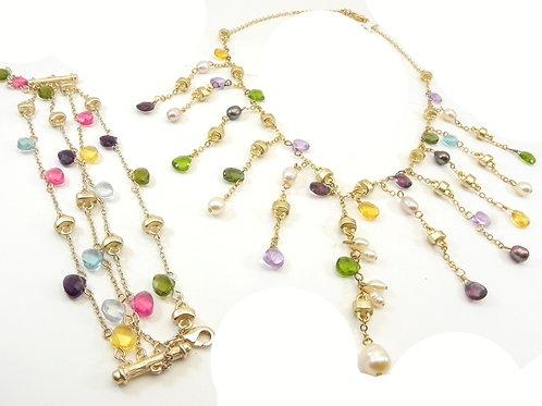 Italian Designer Inspired Multi-Gem CZ Necklace & Bracelet Set