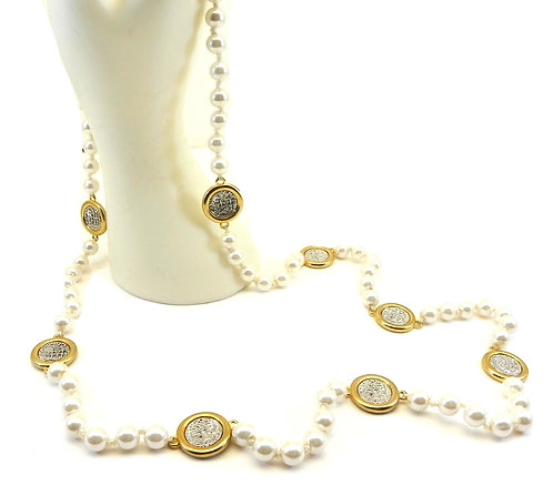 """International Designer Inspired Faux Pearls 2-Tone Coins 36""""Necklace"""