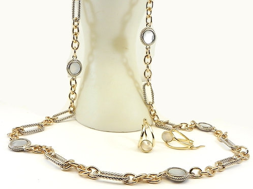 """Cable Designer Inspired 2-Tone Mother Of Pearl Stations 36"""" Necklace-Earring Set"""