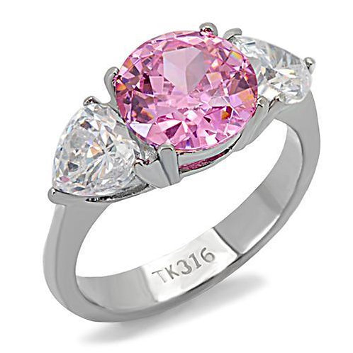 2.75ctw Round Pink & Heart Shape CZ Sides Stainless Steel Engagement Sz 5-10