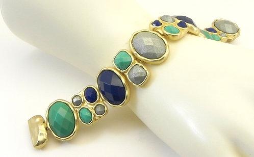 Bold Designer Inspired Brushed Gold-Tone Multi-Color Bracelet