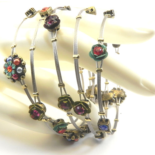 Designer Inspired Stainless Steel Floral Bead & Crystal Accent Bangle Set