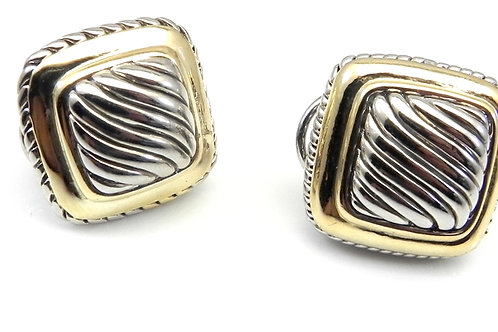 Cable Designer Inspired 2-Tone Square Earring-Surgical Steel Post