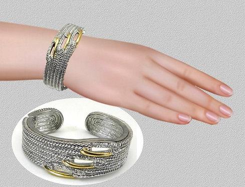 Designer Inspired 2-Tone Rhodium Braided Wide Bracelet