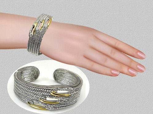Designer Inspired 2-Tone Rhodium Braided Wide Bracelet