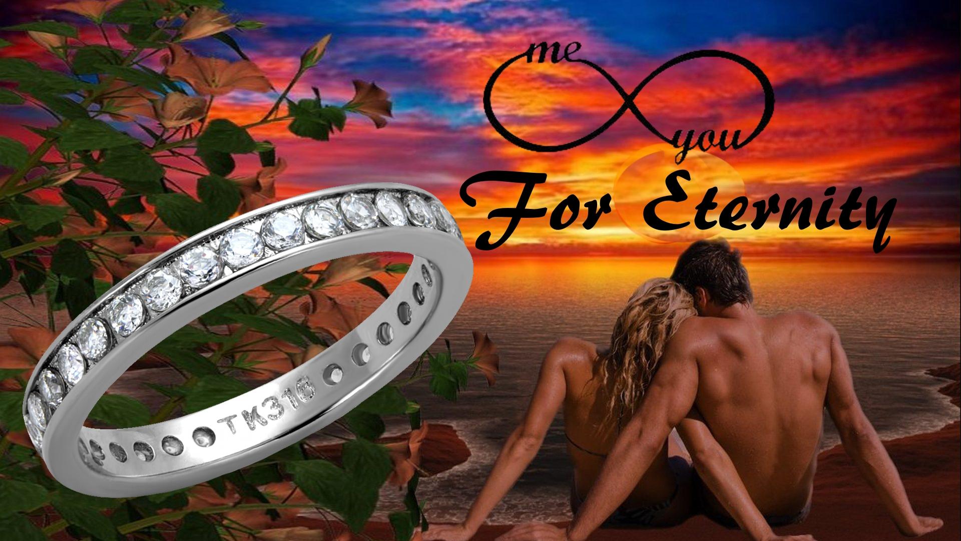 Bridal Eternity Stainless Steel Ring Engagement Bride-Groom