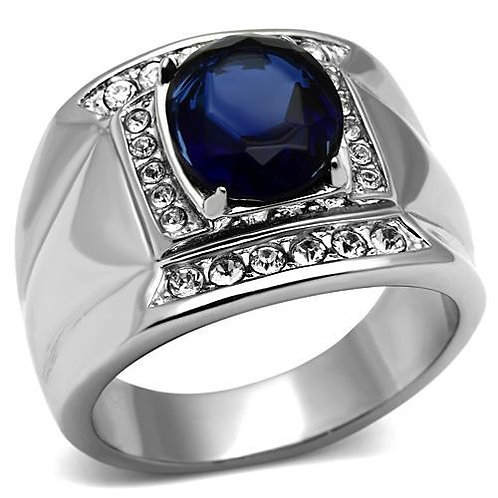 Stainless Steel Pave Set CZ's & Simulated Sapphire Fashion Men's Ring Size 8-13