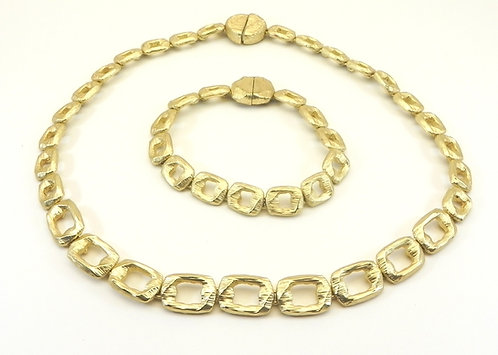 """Statement Designer Inspired Brushed Gold-Tone 18"""" Necklace- Bracelet Set"""