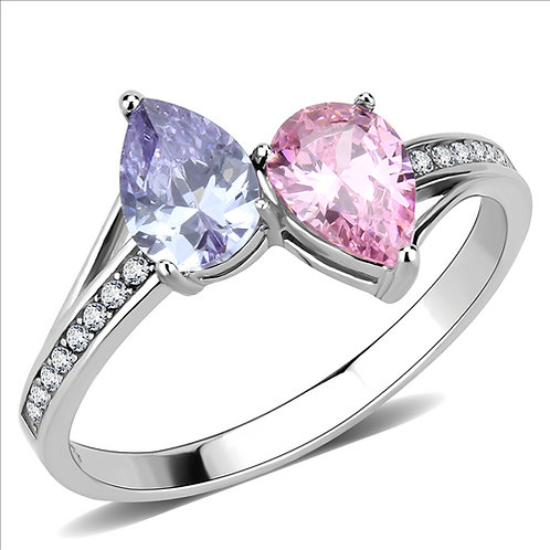 Delightful 2-Pear CZ Pink & Amy + Side Accents Stainless Steel Engagement Ring