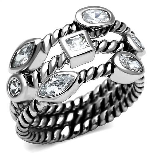 Cable Designer Inspired Stacking  Set Multi-Shape CZ Stainless Steel  Ring 5-10
