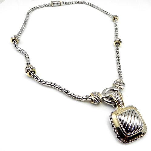 """Cable Designer Inspired 2-Tone Pendant Slider Rhodium & 17""""Chain"""