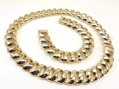 Classic Designer Inspired High Polished Gold Tone Necklace Bracelet Set