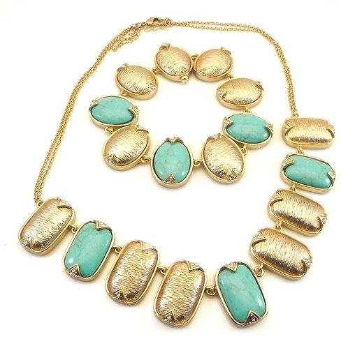 International Designer Inspired Gold-Tone & Turquoise Necklace and Bracelet Set