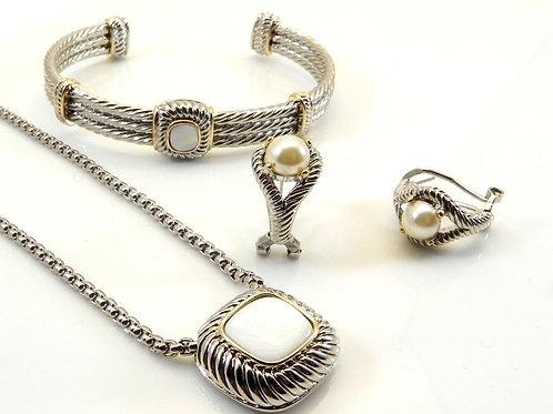 Cable Designer Inspired 2-Tone White Pearlized Pendant, Chain, Bracelet,Earring