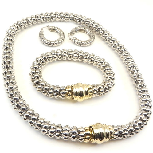 Convertible 2-Tone 2-in-1 Caviar Necklace, Bracelet and Earring Set