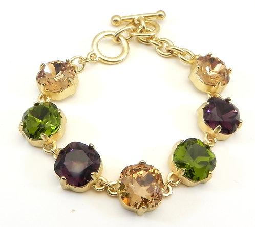Dazzler Gold-Tone Sparkly Multi-Color Crystal Toggle Bracelet