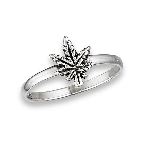 Sterling Silver Very Tiny Marijuana Leaf Ring Size 7