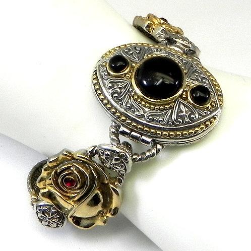 Bali Designer Inspired 2-Tone & Jet Stone Austrian Crystal Bracelet