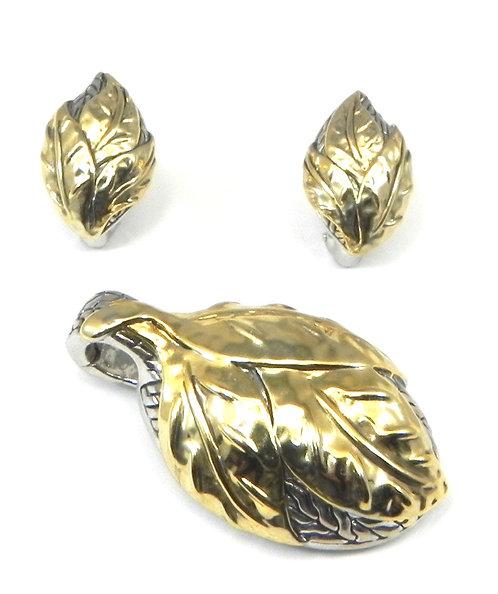 Bali Inspired 2-Tone Leaf Shape Slider & Earring Set