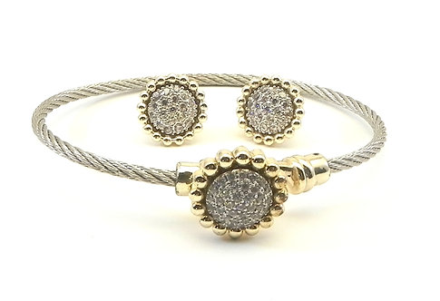 Classic Cable Designer Inspired 2-Tone Pave Crystals Bracelet & Earring Set
