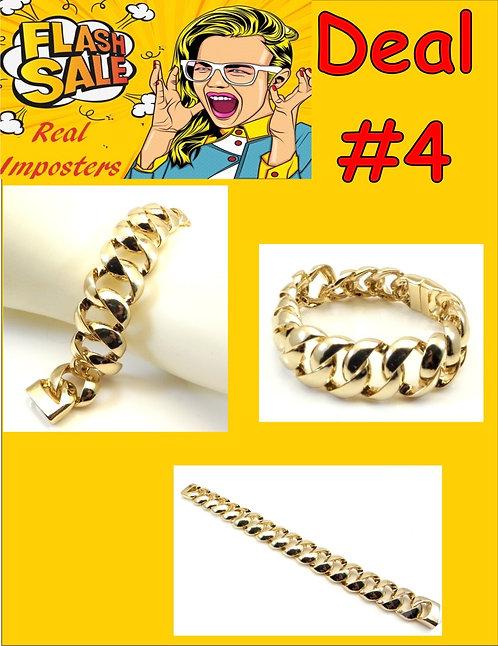 International Inspired Gold-Tone  Links Magnetic Clasp Bracelet