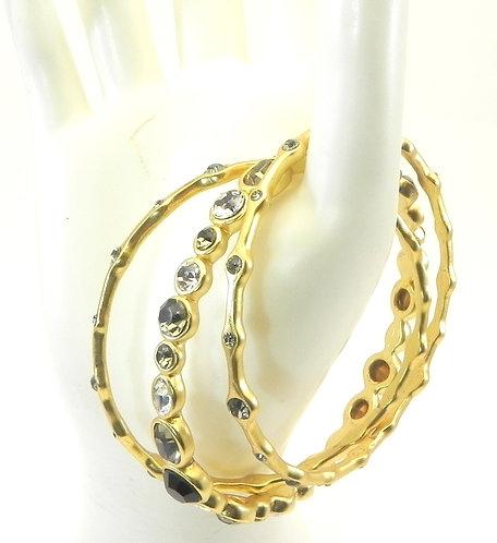 Stacking Bangle Trio Designer Inspired Gold-Tone Black & Black Diamond Crystals