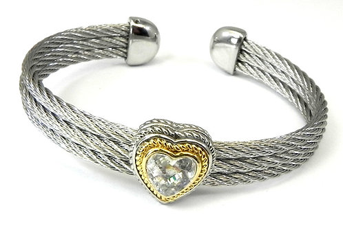 Cable Designer inspired 2-Tone & Heart CZ Bracelet-Cuff