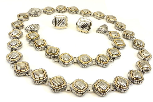 "Cable Designer Inspired 2-Tone 17"" Necklace-Bracelet Earring Set"