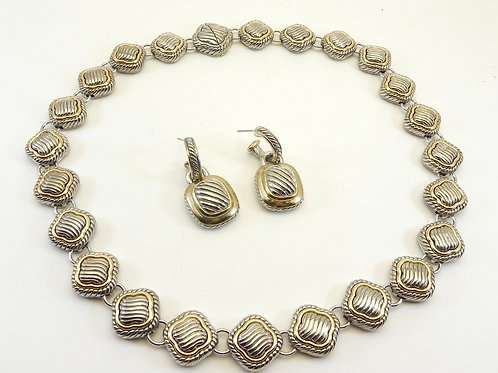 "Cable Designer Inspired Stylish Textured Links 2-Tone 18"""" Necklace & Earrings"
