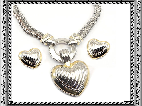 Cable Designer Inspired 2-Tone Double Chain, Heart Pendant,Earring 3 PC
