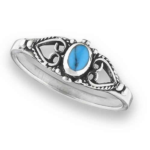 Sterling Silver Petite Simulated Turquoise Ring Size 7