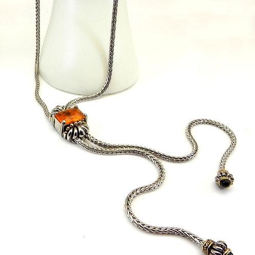 "Designer Inspired Lariat  2-Tone Rectangle Orange Crystal & Black Tips 30""l"