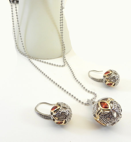 Designer Inspired 2-Tone Double Strand Necklace Garnet CZ & Earring Set