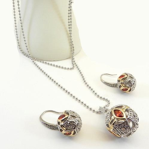 Designer Inspired 2-Tone Double Strand Necklace Garnet CZ & Earring Set