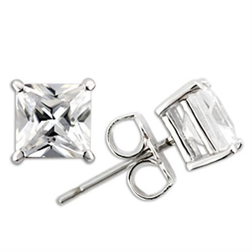 8 MM Princess Cut Sterling Silver Stud Earring AAA Grade Cubic Zirconia