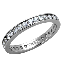 Eternity Stacking Channel Set AAA CZ  Stainless Steel Engagement Ring  Bridal-Promise-Wedding Size 5-13