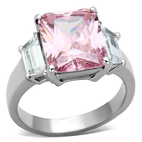 6.95ctw Pink Radiant Cut CZ Baguette Sides Stainless Steel Engagement Sz 5-10