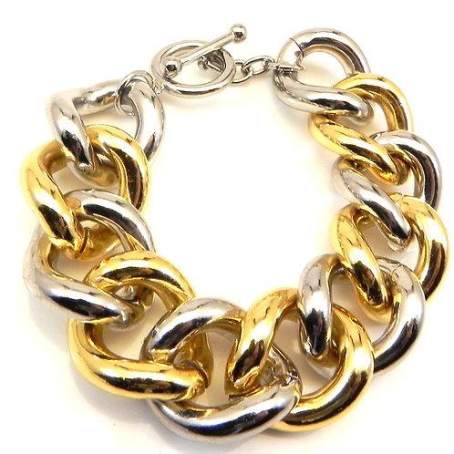 Bold & Big Link 2-Tone Designer Inspired Chain Toggle Clasp Bracelet