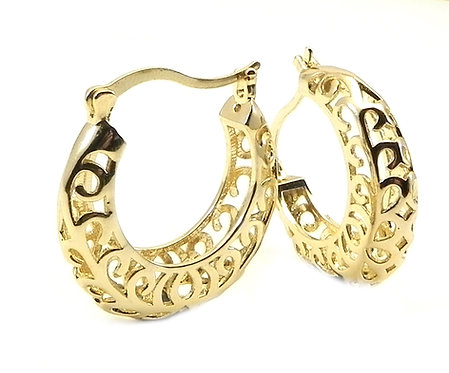 International Designer Inspired Filigree Gold-Tone Hoop Earring