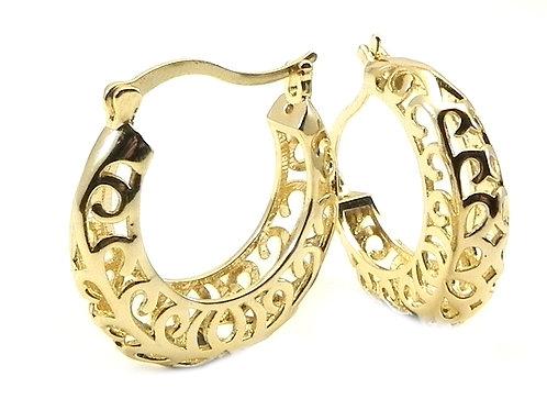 International Designer Inspired Filigree Gold-Tone Hoop Earring