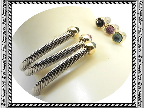 Dainty 3.7 mm Cable Designer Inspired 2-Tone CZ Tips 3-Colors Stackabl
