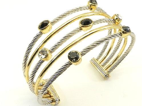 Cable Designer Inspired 2-Tone, Black Ovals & Clear Round Crystals Bracelet