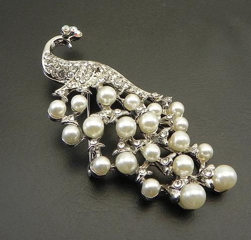 Beautifully Elegant  Peacock Silver Tone Faux Pearl & Austrian Crystals Brooch