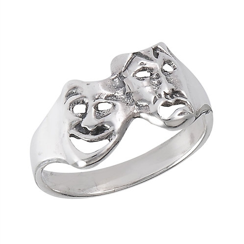Sterling Silver Tiny Petite Comedy Tragedy Ring Size 7